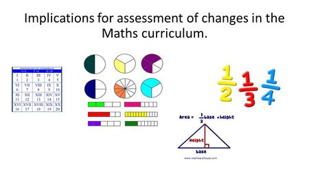Implications for assessment of changes in the Maths curriculum.