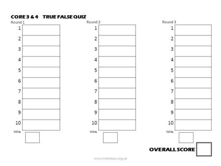 TRUE FALSE QUIZCORE 3 & 4 Round 1 Round 2Round 3 111 222 333 444 555 666 777 888 999 10 TOTAL OVERALL SCORE www.mathsbox.org.uk.