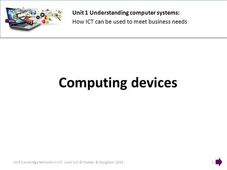Unit 1 Understanding computer systems: How ICT can be used to meet business needs OCR Cambridge Nationals in ICT Level 1/2 © Hodder & Stoughton 20131 Computing.