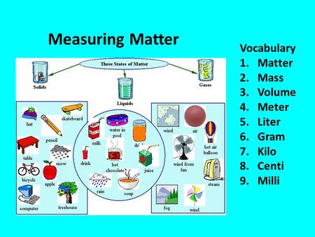 Measuring Matter Vocabulary 1.Matter 2.Mass 3.Volume 4.Meter 5.Liter 6.Gram 7.Kilo 8.Centi 9.Milli.