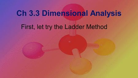 Ch 3.3 Dimensional Analysis First, let try the Ladder Method.
