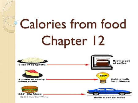 Calories from food Chapter 12. Calories Measurement of the energy content in a substance = heat Calorie = E require to raise the temperature of 1 gram.