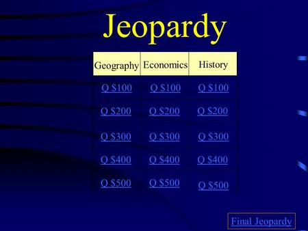 Jeopardy Geography Economics History Q $100 Q $200 Q $300 Q $400 Q $500 Q $100 Q $200 Q $300 Q $400 Q $500 Final Jeopardy.