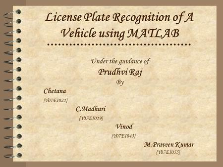 License Plate Recognition of A Vehicle using MATLAB
