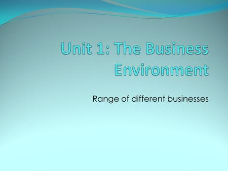 Range of different businesses. Unit Overview: On completion of this unit you should: 1. Know the range of different businesses and their ownership 2.