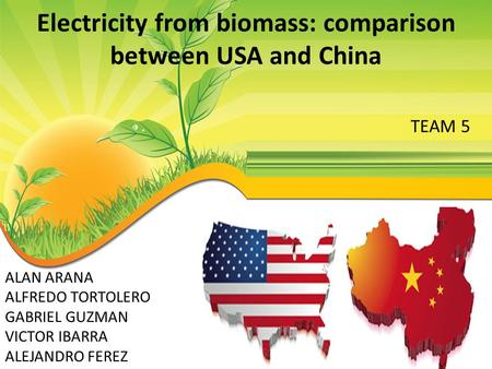 Electricity from biomass: comparison between USA and China ALAN ARANA ALFREDO TORTOLERO GABRIEL GUZMAN VICTOR IBARRA ALEJANDRO FEREZ TEAM 5.