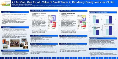 All for One, One for All: Value of Small Teams in Residency Family Medicine Clinics Robert Kraft, MD and Alice Brown, RN Salina Family Healthcare Center,