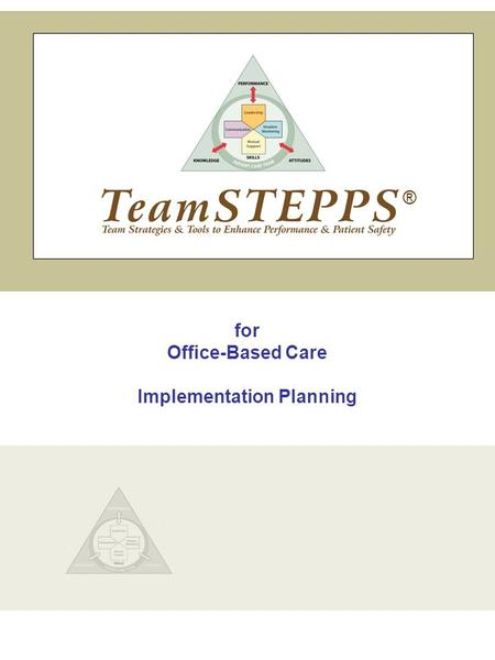 For Office-Based Care Implementation Planning ®. Slide 1 1 TeamSTEPPS | Office-Based Care Implementation Planning INTRODUCTION SAY: Welcome to the Implementation.
