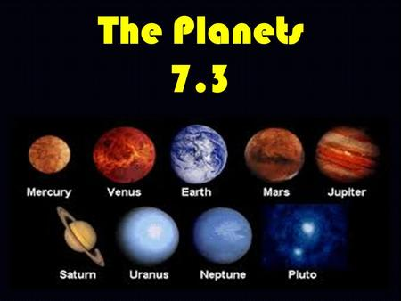 The Planets 7.3. What are some of the objects that make up our solar system? Planets Moons The Sun Comets Asteroids Stars.