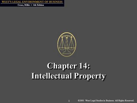 ©2001 West Legal Studies in Business. All Rights Reserved. 1 Chapter 14: Intellectual Property.