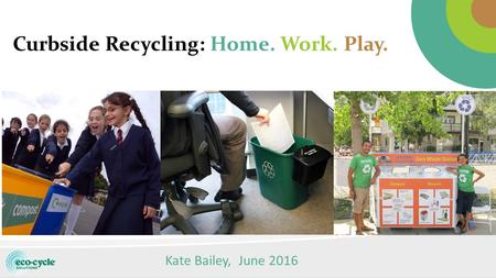 Curbside Recycling: Home. Work. Play. Kate Bailey, June 2016.