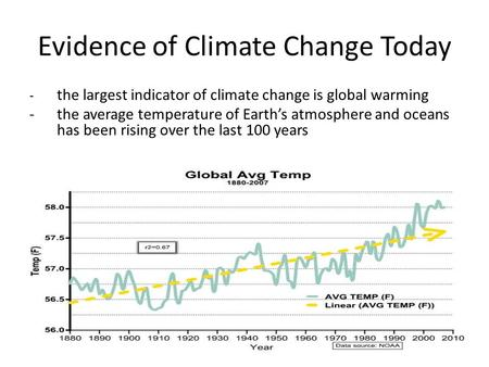 Evidence of Climate Change Today - the largest indicator of climate change is global warming -the average temperature of Earth's atmosphere and oceans.