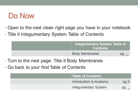 Do Now Open to the next clean right page you have in your notebook Title it Integumentary System Table of Contents Turn to the next page: Title it Body.