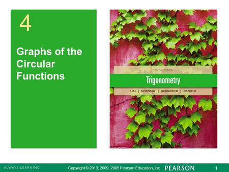 Copyright © 2013, 2009, 2005 Pearson Education, Inc. 1 4 Graphs of the Circular Functions.