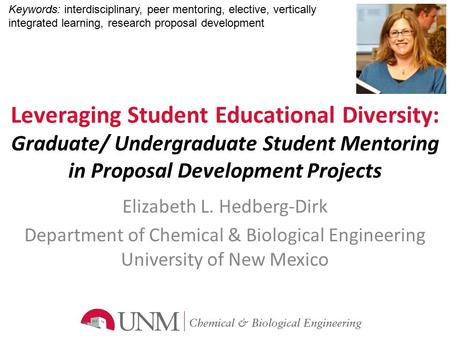 Leveraging Student Educational Diversity: Graduate/ Undergraduate Student Mentoring in Proposal Development Projects Elizabeth L. Hedberg-Dirk Department.