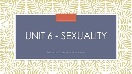 UNIT 6 - SEXUALITY Lesson 2 - Chastity and Marriage.