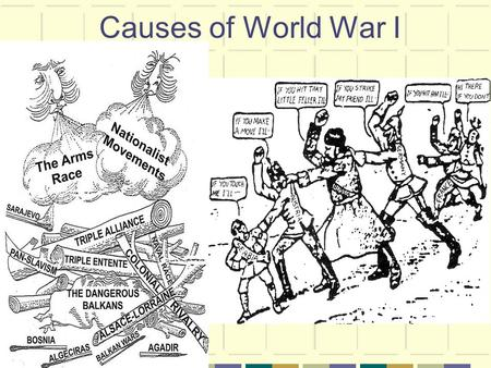 Causes of World War I. Good question! Here's an easy way to remember! M is for Militarism A is for Alliances A is for Assassination I is for Imperialism.