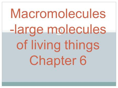 Macromolecules -large molecules of living things Chapter 6.