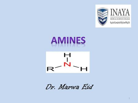 1 Dr. Marwa Eid. 2 Amines Derivatives of ammonia, NH 3. Contain N attached to one or more alkyl or aromatic groups.