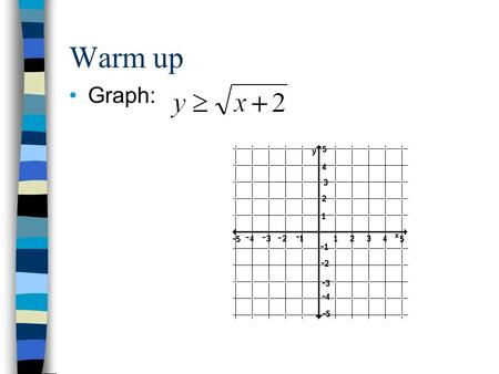 Warm up Graph:. Lesson 3-4 Inverse Functions and Relations Objective: To determine inverses of relations and functions. To graph functions and their inverses.