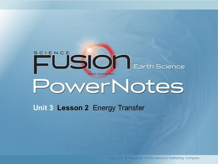 Unit 3 Lesson 2 Energy Transfer Copyright © Houghton Mifflin Harcourt Publishing Company.