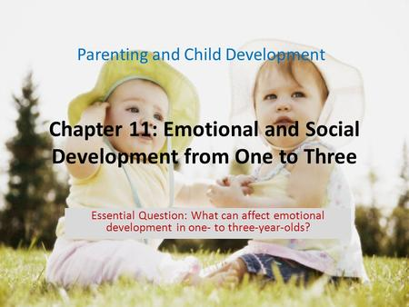Chapter 11: Emotional and Social Development from One to Three Parenting and Child Development Essential Question: What can affect emotional development.