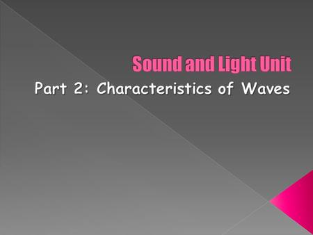  Identify the crest, trough, amplitude, and wavelength of a wave  Define the terms frequency and period  Solve problems involving wave speed, frequency,