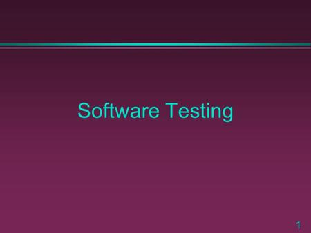 1 Software Testing. 2 What is Software Testing ? Testing is a verification and validation activity that is performed by executing program code.