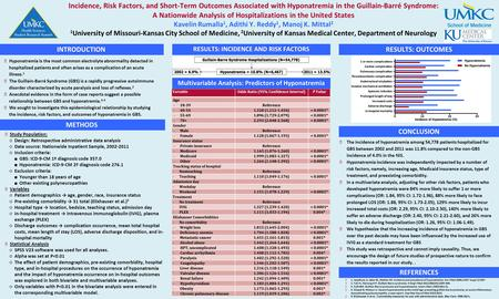 Incidence, Risk Factors, and Short-Term Outcomes Associated with Hyponatremia in the Guillain-Barré Syndrome: A Nationwide Analysis of Hospitalizations.