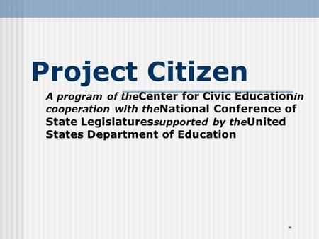 * Project Citizen A program of the Center for Civic Education in cooperation with the National Conference of State Legislatures supported by the United.