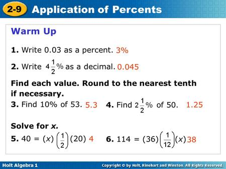 Warm Up 1. Write 0.03 as a percent. 2. Write as a decimal.
