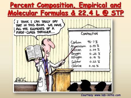 Percent Composition, Empirical and Molecular Formulas & 22.4 STP Courtesy