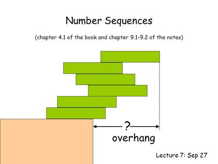 Number Sequences Lecture 7: Sep 27 (chapter 4.1 of the book and chapter 9.1-9.2 of the notes) ? overhang.