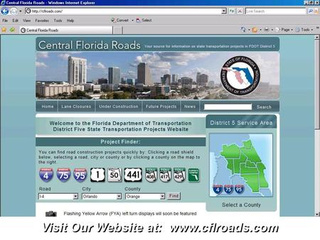 Visit Our Website at: www.cflroads.com. Click to edit Master title style.