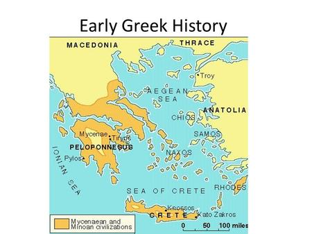 Early Greek History. Greece was settled by Indo-European nomads from central Asia between 5000 and 3000 BC.