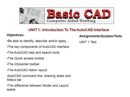 UNIT 1: Introduction To The AutoCAD Interface Objectives: Be able to identify, describe and/or apply… The key components of AutoCAD interface The AutoCAD.
