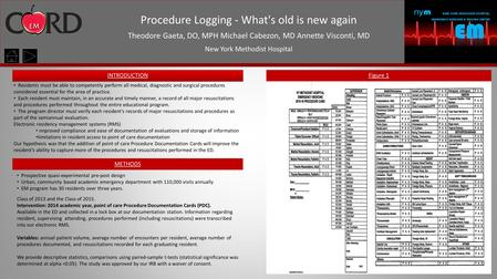 Procedure Logging - What's old is new again Theodore Gaeta, DO, MPH Michael Cabezon, MD Annette Visconti, MD New York Methodist Hospital Introduction METHODS.