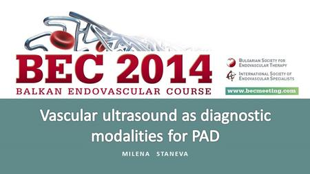 Vascular ultrasound as diagnostic modalities for PAD