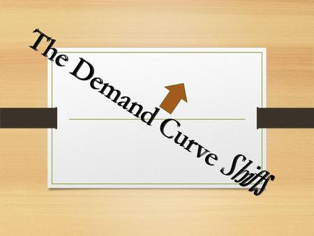 The Demand Curve Shifts. Price goes up quantity demand decreases, but… when price goes down quantity demanded increases when price goes down quantity.