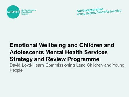 Emotional Wellbeing and Children and Adolescents Mental Health Services Strategy and Review Programme David Loyd-Hearn Commissioning Lead Children and.
