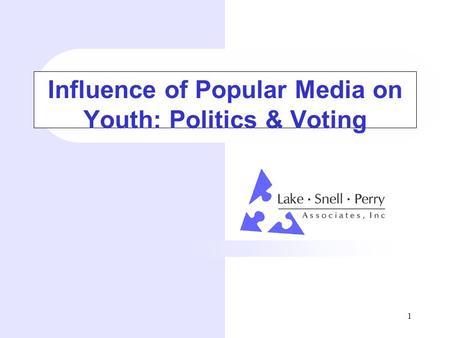 1 Influence of Popular Media on Youth: <strong>Politics</strong> & Voting.