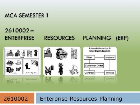 MCA SEMESTER 1 2610002 – ENTERPRISE RESOURCES PLANNING (ERP) 1 2610002Enterprise Resources Planning.