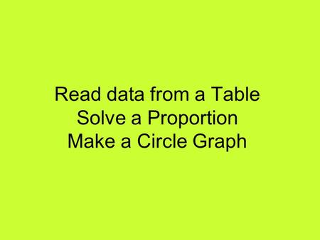 Read data from a Table Solve a Proportion Make a Circle Graph.