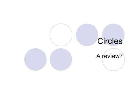 Circles A review?. Let's review what we already know about circles. Definition: A circle is a locus (set) of points in a plane equidistant from a fixed.