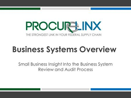 Small Business Insight Into the Business System Review and Audit Process Business Systems Overview.