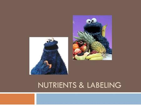 "NUTRIENTS & LABELING. Review what the basics are as far as nutrition…. and then what a serving size looks like…  Learning Targets:  Review ""basics"""