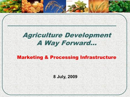 Agriculture Development A Way Forward… Marketing & Processing Infrastructure 8 July, 2009.
