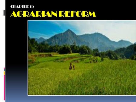 CHAPTER 15 AGRARIAN REFORM. KEY TERMS -Agrarian Reform -Operation Land Transfer -Capitalized Net Income - Land Reform -Comparable Sale - Land Value.