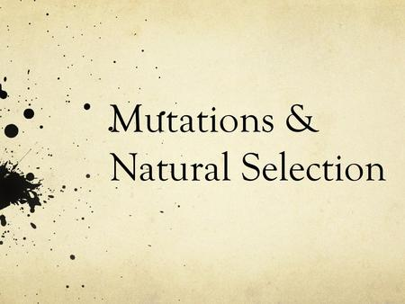 Mutations & Natural Selection. Definition of Mutation = A random change in an organism's DNA Can be inherited – passed down from a parent to their offspring.