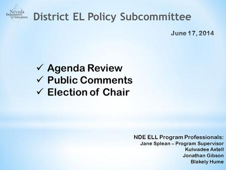 Agenda Review Public Comments Election of Chair NDE ELL Program Professionals: Jane Splean – Program Supervisor Kulwadee Axtell Jonathan Gibson Blakely.